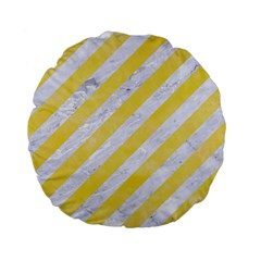 Stripes3 White Marble & Yellow Watercolor (r) Standard 15  Premium Flano Round Cushions by trendistuff
