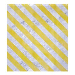 Stripes3 White Marble & Yellow Watercolor Shower Curtain 66  X 72  (large)  by trendistuff