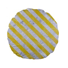Stripes3 White Marble & Yellow Watercolor Standard 15  Premium Flano Round Cushions by trendistuff