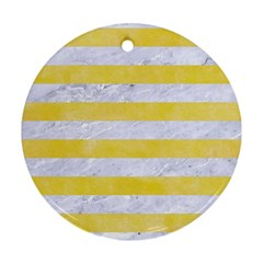Stripes2white Marble & Yellow Watercolor Round Ornament (two Sides) by trendistuff