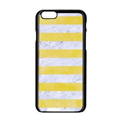 Stripes2white Marble & Yellow Watercolor Apple Iphone 6/6s Black Enamel Case by trendistuff