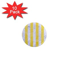 Stripes1 White Marble & Yellow Watercolor 1  Mini Magnet (10 Pack)  by trendistuff