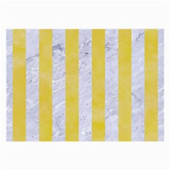 Stripes1 White Marble & Yellow Watercolor Large Glasses Cloth (2 Side) by trendistuff