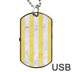 Stripes1 White Marble & Yellow Watercolor Dog Tag Usb Flash (two Sides) by trendistuff
