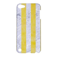 Stripes1 White Marble & Yellow Watercolor Apple Ipod Touch 5 Hardshell Case by trendistuff