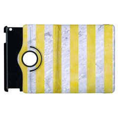 Stripes1 White Marble & Yellow Watercolor Apple Ipad 2 Flip 360 Case by trendistuff