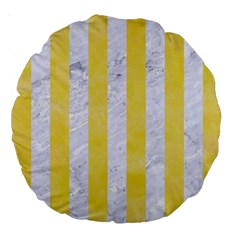 Stripes1 White Marble & Yellow Watercolor Large 18  Premium Round Cushions by trendistuff