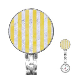 Stripes1 White Marble & Yellow Watercolor Stainless Steel Nurses Watch by trendistuff
