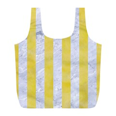 Stripes1 White Marble & Yellow Watercolor Full Print Recycle Bags (l)  by trendistuff