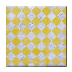 Square2 White Marble & Yellow Watercolor Face Towel by trendistuff