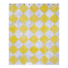 Square2 White Marble & Yellow Watercolor Shower Curtain 60  X 72  (medium)  by trendistuff