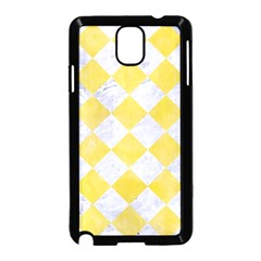 Square2 White Marble & Yellow Watercolor Samsung Galaxy Note 3 Neo Hardshell Case (black) by trendistuff