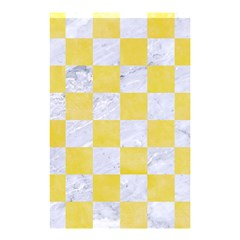 Square1 White Marble & Yellow Watercolor Shower Curtain 48  X 72  (small)  by trendistuff
