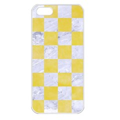 Square1 White Marble & Yellow Watercolor Apple Iphone 5 Seamless Case (white) by trendistuff