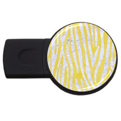 Skin4 White Marble & Yellow Watercolor (r) Usb Flash Drive Round (2 Gb) by trendistuff