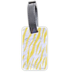 Skin3 White Marble & Yellow Watercolor (r) Luggage Tags (two Sides) by trendistuff
