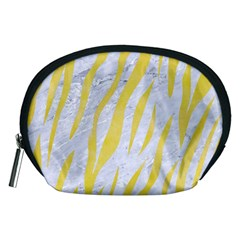 Skin3 White Marble & Yellow Watercolor (r) Accessory Pouches (medium)  by trendistuff