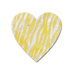 Skin3 White Marble & Yellow Watercolor Heart Magnet by trendistuff
