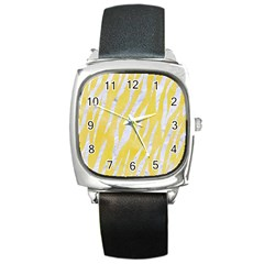 Skin3 White Marble & Yellow Watercolor Square Metal Watch by trendistuff