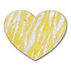 Skin3 White Marble & Yellow Watercolor Heart Mousepads