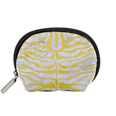 Skin2 White Marble & Yellow Watercolor (r) Accessory Pouches (small)  by trendistuff