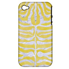 Skin2 White Marble & Yellow Watercolor Apple Iphone 4/4s Hardshell Case (pc+silicone) by trendistuff