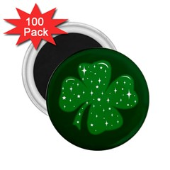Sparkly Clover 2 25  Magnets (100 Pack)  by Valentinaart
