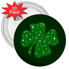 Sparkly Clover 3  Buttons (10 Pack)  by Valentinaart