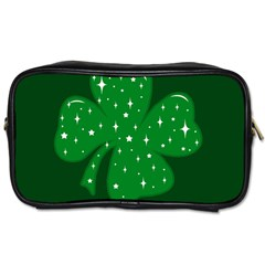 Sparkly Clover Toiletries Bags 2 Side by Valentinaart