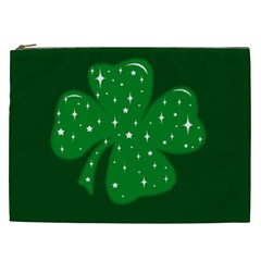 Sparkly Clover Cosmetic Bag (xxl)  by Valentinaart