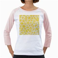 Skin1 White Marble & Yellow Watercolor (r) Girly Raglans by trendistuff
