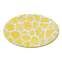 Skin1 White Marble & Yellow Watercolor (r) Oval Magnet by trendistuff