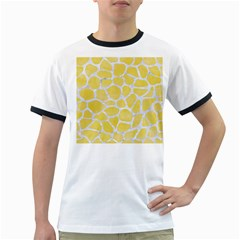 Skin1 White Marble & Yellow Watercolor (r) Ringer T Shirts by trendistuff