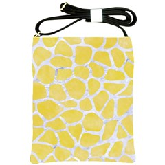 Skin1 White Marble & Yellow Watercolor (r) Shoulder Sling Bags