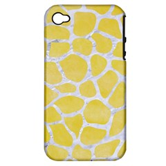 Skin1 White Marble & Yellow Watercolor (r) Apple Iphone 4/4s Hardshell Case (pc+silicone) by trendistuff
