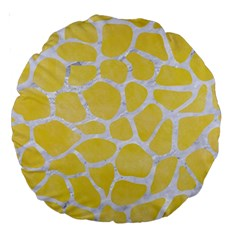 Skin1 White Marble & Yellow Watercolor (r) Large 18  Premium Round Cushions by trendistuff