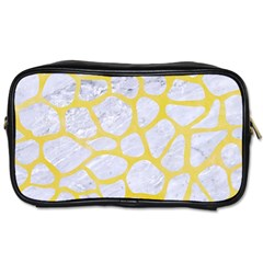 Skin1 White Marble & Yellow Watercolor Toiletries Bags 2 Side by trendistuff