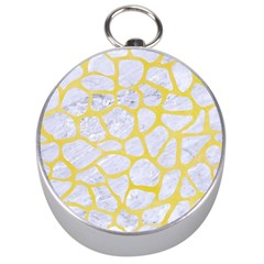 Skin1 White Marble & Yellow Watercolor Silver Compasses by trendistuff