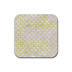 Scales3 White Marble & Yellow Watercolor (r) Rubber Square Coaster (4 Pack)  by trendistuff