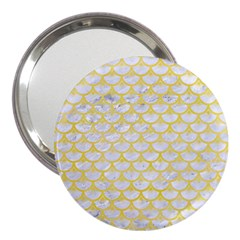Scales3 White Marble & Yellow Watercolor (r) 3  Handbag Mirrors by trendistuff