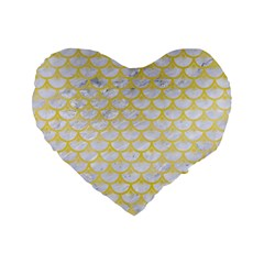 Scales3 White Marble & Yellow Watercolor (r) Standard 16  Premium Heart Shape Cushions by trendistuff