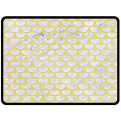 Scales3 White Marble & Yellow Watercolor (r) Double Sided Fleece Blanket (large)