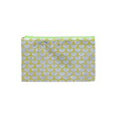 Scales3 White Marble & Yellow Watercolor (r) Cosmetic Bag (xs) by trendistuff