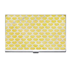 Scales3 White Marble & Yellow Watercolor Business Card Holders by trendistuff
