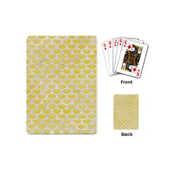 Scales3 White Marble & Yellow Watercolor Playing Cards (mini)  by trendistuff