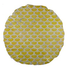 Scales3 White Marble & Yellow Watercolor Large 18  Premium Round Cushions by trendistuff