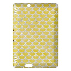 Scales3 White Marble & Yellow Watercolor Kindle Fire Hdx Hardshell Case by trendistuff