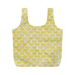 Scales3 White Marble & Yellow Watercolor Full Print Recycle Bags (m)  by trendistuff