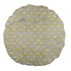 Scales2 White Marble & Yellow Watercolor (r)scales2 White Marble & Yellow Watercolor (r) Large 18  Premium Round Cushions by trendistuff