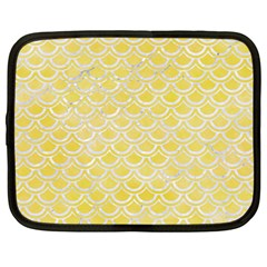 Scales2 White Marble & Yellow Watercolor Netbook Case (large) by trendistuff